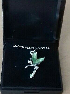 £0.99 • Buy New Fairy Tinkerbell  Necklace  With Green  Crystal Colour Wings. GIFT BOXED.