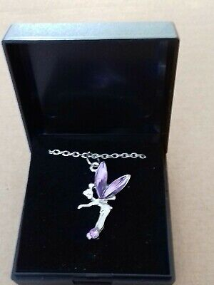 £0.99 • Buy New Fairy Tinkerbell  Necklace  With PURPLE Crystal Colour Wings. GIFT BOXED.