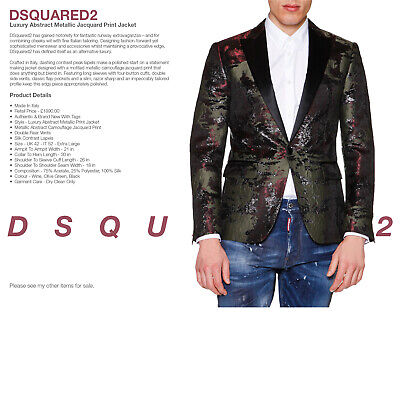 $628.88 • Buy DSQUARED2 Luxury Metallic Camouflage Print Tailored Jacket - WAS £1890.00