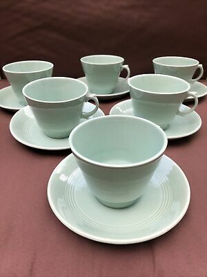 £11 • Buy 6 X Vintage Cup And Saucer Set Green Beryl Wood's Ware