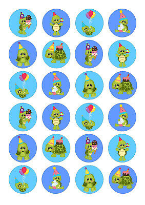 £4 • Buy 24 Edible Turtle Tortoise Iced Icing Fondant 4cm Cupcake Toppers Cake