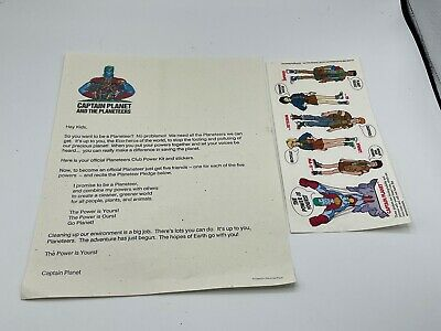 $14.99 • Buy 1991 CAPTAIN PLANET Power Club Kit- Mail Away.  Letter And Sticker Kit Unused