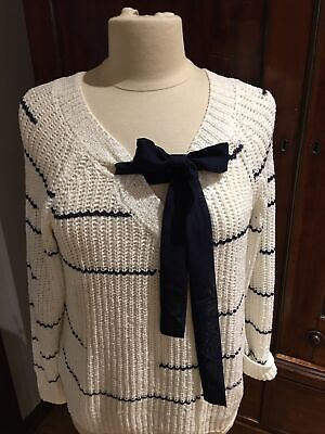 £15 • Buy Miss Captain Size 12  Reversible Nautical White Jumper With Optional Tie Rrp £65