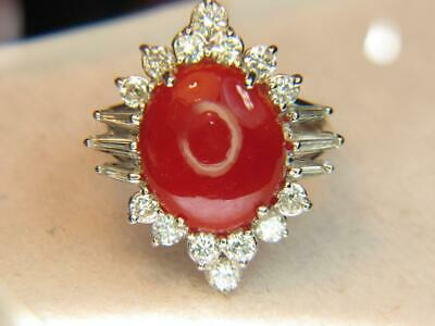 £1817.98 • Buy 7.46ct Oxblood Red Sardinian Coral Cab & 1.40ctw Diamond Estate 18kt W/gold Ring