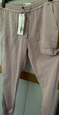 £23 • Buy Zara Signature Denim Cuffed Pale Pink Soft Trousers Jeans Size-large 14  Rrp£30