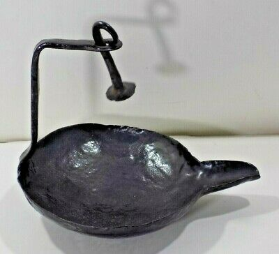 $ CDN31.46 • Buy Antique Vintage Primitive Old Whale Oil Betty Lamp Iron W/ Hook Has Been Painted