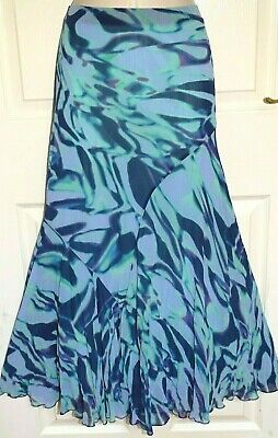 £2.99 • Buy M&S PER UNA Long Lilac Green Navy Pleated Fit & Flare Gypsy Boho Skirt Size 14