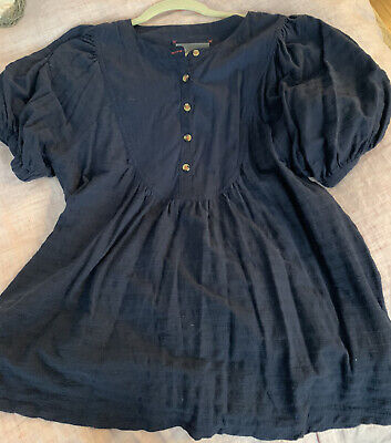 $ CDN13.60 • Buy By Anthropologie Woven Cotton Puff Sleeve Peasant Top Medium Navy Blue
