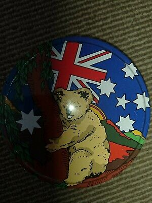 £3 • Buy Small Round Tin With Australian Theme Picture 5  X 1.5  Condition Used