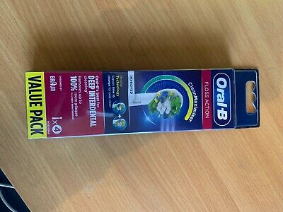 AU30.20 • Buy 4 Pack Oral-b Floss_action Deep Interdental Electric Toothbrush Heads_eb25rb4.