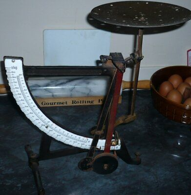 £29.95 • Buy Large Vintage Post Office Scales With Enamel Dial And Brass Plate.