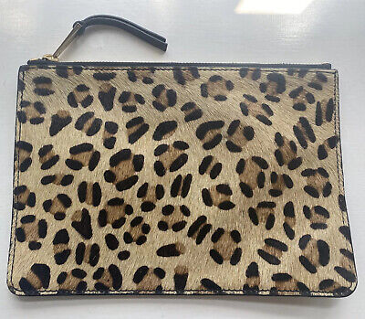 £9.99 • Buy French Connection Leopard Print Pony Hair Calf Leather Wallet Pouch Clutch Bag