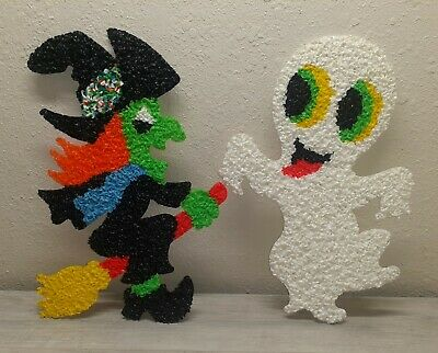 $ CDN25.18 • Buy 2 Vintage Halloween Melted Plastic Popcorn Decoration Witch And Ghost
