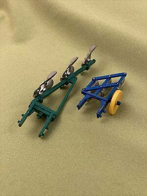 £3.20 • Buy Britains Farm Ploughs X 2 Blue And Green Vintage Models 1/32