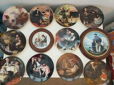 $ CDN50.35 • Buy Large Lot 12 Norman Rockwell Decorative Collector Plates Most With COA'S Knowles