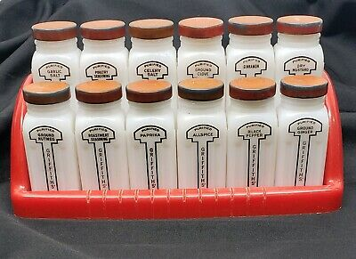 $25 • Buy 12 Jars - Griffiths Milk Glass Spice Jars - With Red Plastic Rack - Shaker Tops