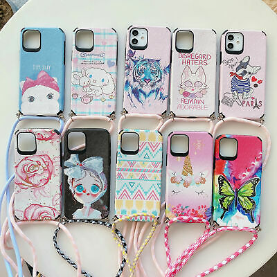 AU11.99 • Buy Pattern Back Case With Nylon Lanyard For IPhone 12 11 Pro MAX X XR XS 8 7 6 Plus