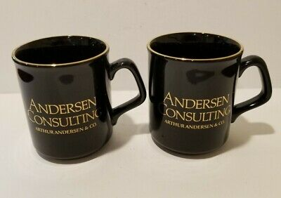 £57.53 • Buy Two (2) ANDERSEN CONSULTING MUGS  Arthur Andersen & Co. MADE ENGLAND Gold Trim