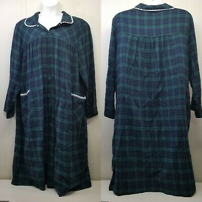 £28.76 • Buy Blair 3XL Night Gown Green Plaid Snap Up Flannel Lace Trim Pajamas Lounge Dress