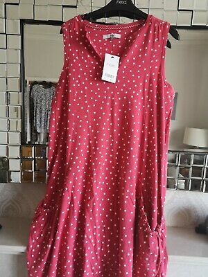£11.50 • Buy New....Next, Red, Polka Dot, Slouch, 100% Cotton, Summer Dress/tuni. Size 16 NWT