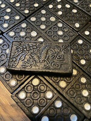 £3 • Buy Vintage Domino Game - Dragon Pattern - Wooden Box - 100% Complete VGC
