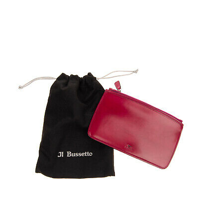 $ CDN19.02 • Buy RRP €140 IL BUSSETTO Leather Clutch Wallet Zipped HANDCRAFTED In Italy