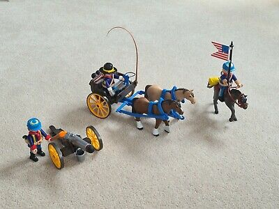 £2.20 • Buy Playmobil 5249 Western Soldiers Horse Drawn Carriage, Canon & Cavalry Rider, VGC