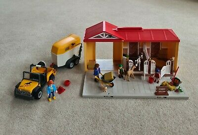£6.50 • Buy Playmobil Bundle 5671 Take Along Horse Stable And 3249 Jeep & Horse Box And Foal
