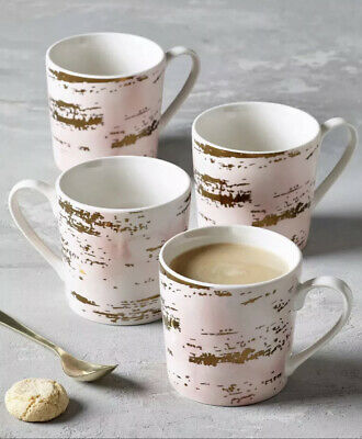 £14.99 • Buy Next Set Of 4 Rosa Pink And Gold Porcelain Mugs/Cups.Tea,Coffee,Kitchen Table.BN