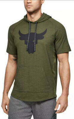 $ CDN60.41 • Buy Under Armour Men's Project Rock L Green Short Sleeve Charged Cotton Hoodie Nwt