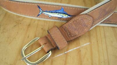 $17.99 • Buy Zep-Pro Fishing Theme Belt Size 36 Canvas Leather Embroidery Made In USA