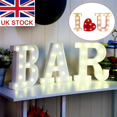 £12.99 • Buy BAR LED Light Up Alphabet Letters Numbers Standing Sign For Love Decor Plaques