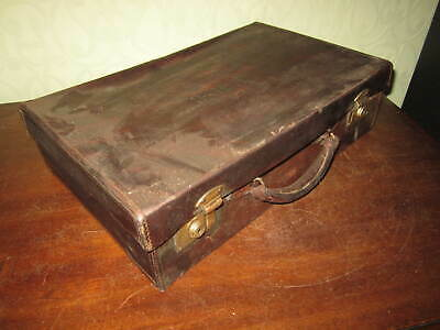 £24.99 • Buy An Old Leather Suitcase With Brass Locks