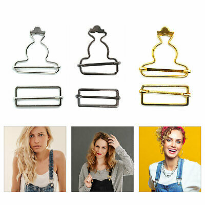 £2.99 • Buy 2pcs Metal Dungaree Fasteners Clips Brace Buckles 35/40mm For Trouser Suspenders