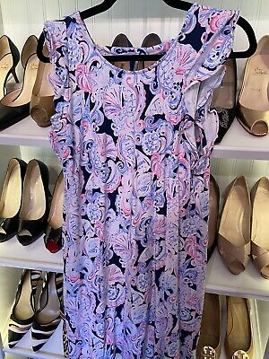 $30 • Buy Lilly Pulitzer Dani Dress High Tide Navy It's For Shore Size Medium