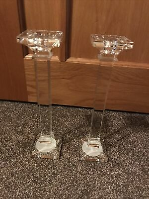 £5 • Buy Set Of 2 Glass Candle Stick Holders
