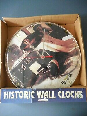$14.99 • Buy US Wings Historic Wall Clock Military Hat Transmitter Pin-up Picture 14  Battery