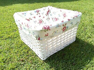 £15.99 • Buy Natural Wicker White Square Medium Storage Basket With Pink Flowered Linen Liner