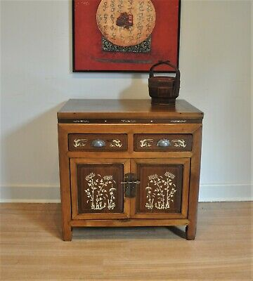 AU475 • Buy Antique Chinese Elm Cabinet / Sideboard / Buffet With Bone Inlay Detail