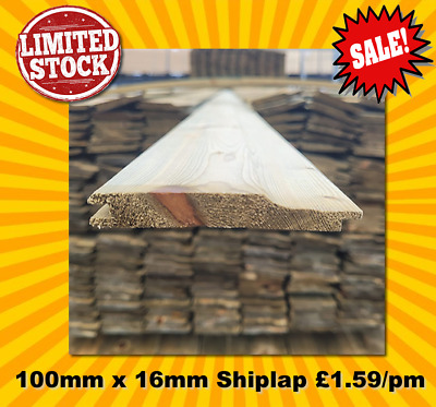£310.05 • Buy Shiplap Timber Cladding 65 Boards 3m See Postcodes Tanalised 100mm X 16mm