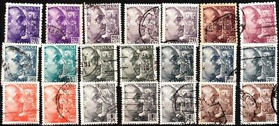£0.50 • Buy SPAIN 1939-53 General Franco. 21v With Dupes. Cleanup, Used