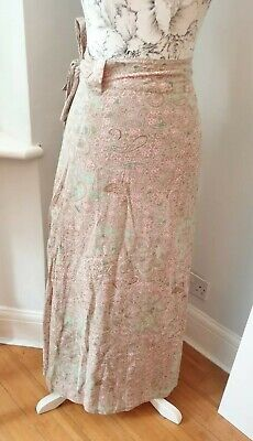 £13.99 • Buy Fatface Long Maxi Wrap Skirt Paisley Print Ethnic Beige Pink Green Pink 8 Lined