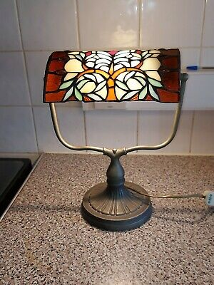 £54.99 • Buy Vintage Tiffany Style Stained Glass Bankers Side Table Lamp Light