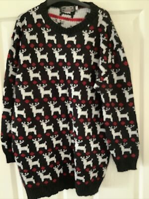 £3 • Buy Xmas Jumper. Size L/XL. Black With White Reindeers On.