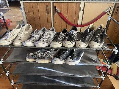 $25 • Buy LOT 6 Pairs Converse High Mid & Low Top Shoes 3 Unique Pairs: Mens 9 Womens 11.