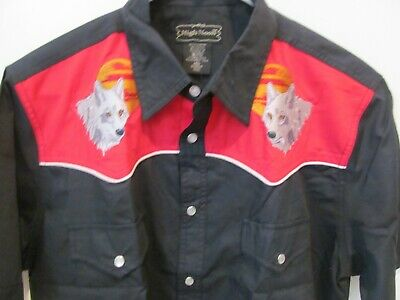 $24.95 • Buy HIGH NOON NWOT Men's Pearl Snap Western Shirt Embroidered Wolves M