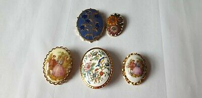 £5 • Buy Collection Of 5 Brooches Porcelain And Cloisonne