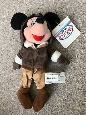 £4.99 • Buy Mickey Mouse Pilot Soft Toy Bean Bag Beanie With Tag Disney Store Plush