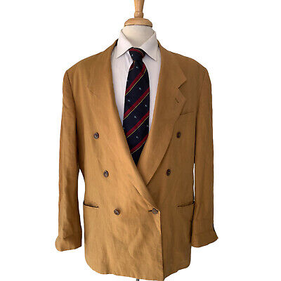 $49 • Buy 7 Collection 100% Linen Double Breasted Blazer 48L Summer Time Doc Tan