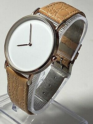 £9.99 • Buy New Rose Gold Ladies Watch With Round Big White Dial & Leather Strap